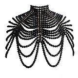 Cadena de hombro Chal de moda de cadena de perlas collares de chal sexy tamaño ajustable collar de hombro perla sujetador joyería vestido de boda (color metálico: negro)