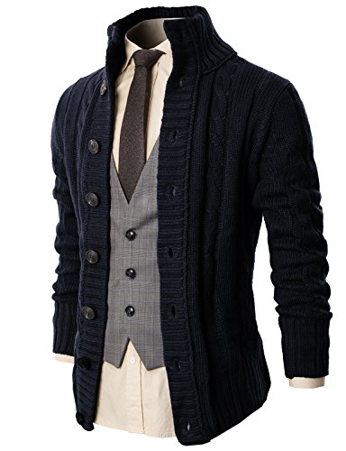H2H Mens High Neck Twill Cardigan Sweater with Button Details Navy US 3XL/Asia 4XL (KMOCAL020)