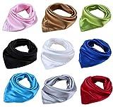 9 bufandas cuadradas de seda de satén de 50,8 cm para mujer