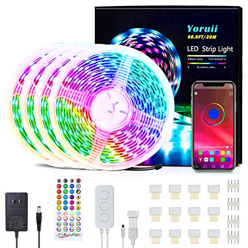 65.6FT/20M LED Light Strips Music Sync RGB LED Strips Changing LED Strip Light with 44-Key IR Remote Bluetooth Controller and 12V Power Supply Flexible LED Tape Light for Bedroom Home Party (Normal)