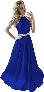 HONGFUYU Prom Dresses Backless Halter Neckline Rhinestone Beaded Formal Satin Evening Ball Gowns