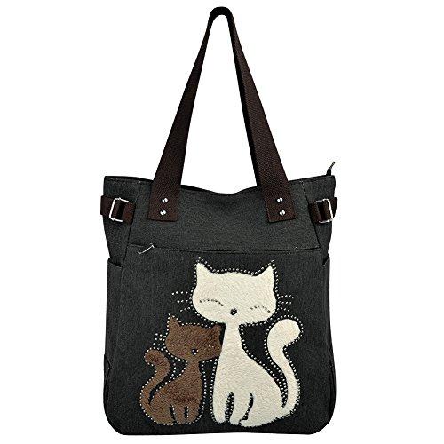 VBIGER Frauen Schultertasche Segeltuch Tasche Niedliche Katzen Tasche Damen Schopper Ideal Geschenk für Damen