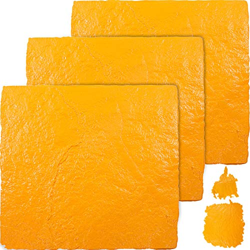 "VEVOR Concrete Texturing Skin, 36""x36"" Concrete Stamps Mats Set, Polyurethane Concrete Stamping Mat, Yellow Slate Concrete Stamp, 4 PCS Realistic Concrete Texture Mats for Cement Walls/Floors"
