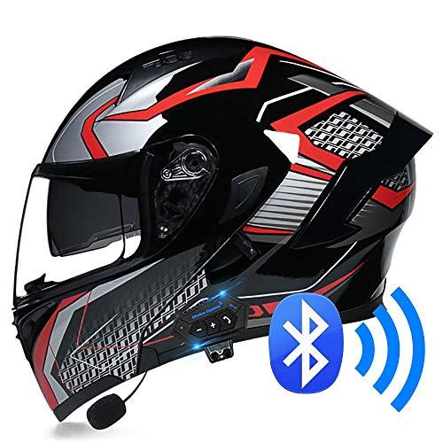 BDTOT Casco para Moto con Bluetooth ECER 22-05 Aprobado Modular Flip Up Motocicleta con Altavoz Incorporado con Doble Visera para Hombres Mujeres Diseño Ligero para Adultos 57-62cm