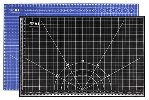 Profi-Schneidematte A1= 60x90cm beidseitig bedruckt: cm & inch, 5-lagig, selbstheilend, zweifarbig blau/schwarz, 3mm stark