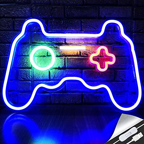 LED Game Neon Sign Gamepad Shape LED Sign Light Gamer Gift for Teen Boys Game Room Decor Bedroom Wall Gaming Wall Decoration Playstation Light Up Signs Accessories Video Game Battle Station Wall Signs