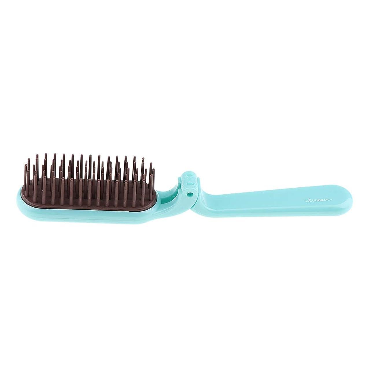 絡み合い適切なはちみつB Baosity 折りたたみヘアブラシ 静電気防止櫛 ヘアコーム ヘアスタイリング 2色選べ - 青