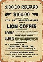 2個 8 x 12 CM メタルサイン - Woolson Spice Co. Lion Coffee メタルプレート レトロ アメリカン ブリキ 看板