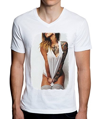 Sexy Inked Girl Tattoo Men's V-Neck T-Shirt Medium