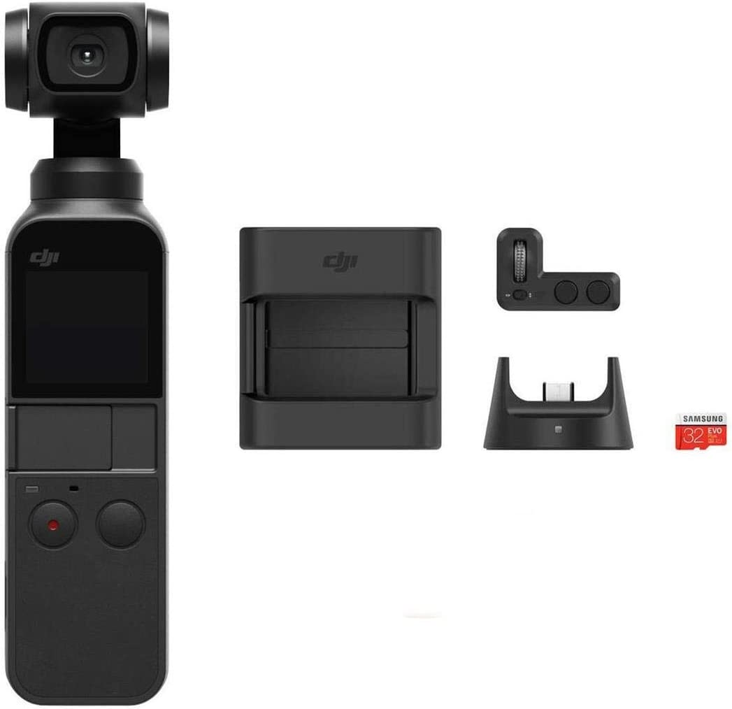 DJI Osmo Pocket Handheld 3 Axis Gimbal Stabilizer with integrated Camera, Attachable to Smartphone, Android (USB-C), iPhone with Osmo Pocket Expansion Kit