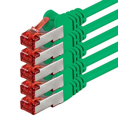 Netwerkkabel - 3m - CAT6-patchkabel Gigabit Lan CAT.6 Ethernet-kabel SFTP PIMF 1000 Mbit s compatibel met Cat5 Cat7 Cat8-5 stuks - groen