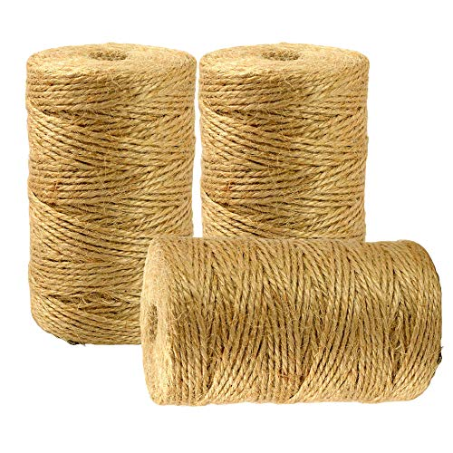 BetterJonny 300m Jute Twine String, 3Ply Strong Natural Jute Rope 2MM Thick Art Linen String for DIY Crafts Gift Package and Decoration
