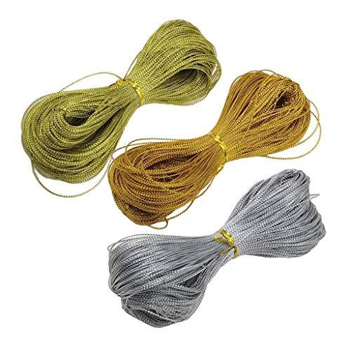 Baoblaze 3 Colores X 100 Yardas de Hilo de Seda para Hacer Joyas, Rebordear, Artesanía - Combo 1