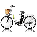 NAKTO 26' Electric Bike 6 Speed Electric Bikes for Adults 250W High Speed Ebike City Electric Bicycle with 36V10AH Removable Lithium Battery and 1 Year Warranty