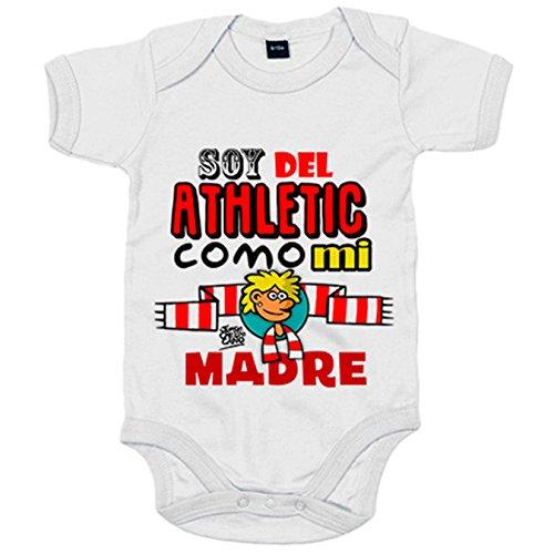 Body bebé soy del Athletic como mi madre Jorge Crespo Cano - Blanco, 6-12 meses