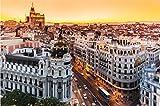 NOBRAND Rompecabezas De 1000 Piezas Panoramic Aerial View of Gran Via Main Shopping Street In Madrid Capital of Spain Europe para Regalo Familiar para Adultos