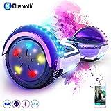 MARKBOARD Patinete Eléctrico 6.5' Hoverboard con Luces LED, Flash Ruedas, Cinco Estrellas con Bluetooth, Scooter...