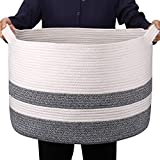 GOCAN Cesta de Manta Extra Grande Cesta de Cuerda de algodón D55 X H35cm Cestas de lavandería Tejidas para Mantas Cesta de Almacenamiento con Asas XXXL (Dark Grey)