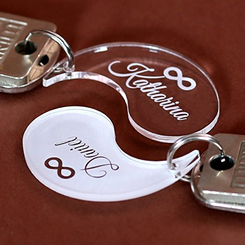 Bütic GmbH Plexiglas® Infinity-Anhänger Ewigkeit Acrylglas Schlüsselanhänger Wunschgravur, Form:Yin Yang