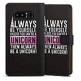 DeinDesign Cover kompatibel mit Samsung Galaxy Note 8 Duos Tasche Leder Flip Hülle Hülle Einhorn Unicorn Phrases