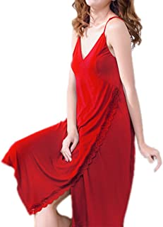 Ladies Nightdress, Sexy Modal Nightgown, mid-Length Summer Thin Nightgown, Casual Home wear, Soft and Comfortable, high-Quality Fabric (Color : Red, Size : M)
