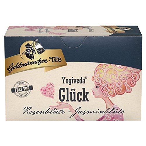 Goldmännchen Yogiveda Glück, Rosenblüte Jasminblüte, Ayurvedische Früchte-Kräuterteemischung, Früchtetee, Früchte Tee, mit natürlichen Zutaten, 20 Teebeutel, X04267