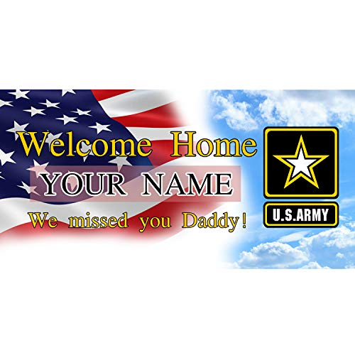 BANNER BUZZ MAKE IT VISIBLE Welcome Home We Missed You Daddy US Army Banner 11 Oz High Quality Vinyl PVC Flex Banners with Hemmed Edges & Metal Grommets Free (3' X 2') -  BannerBuzz