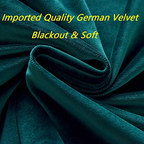 Queen's House Tassel Valance Curtains Velvet Waterfall Swag Peacock Green Window Drapes Panels for Bedroom Living Room 60''×84''-D