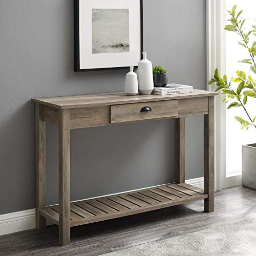 Walker Edison Rustic Wood Farmhouse Entryway Accent Storage Drawer Entry Living Room End Table, 48 Inch, Grey Wash