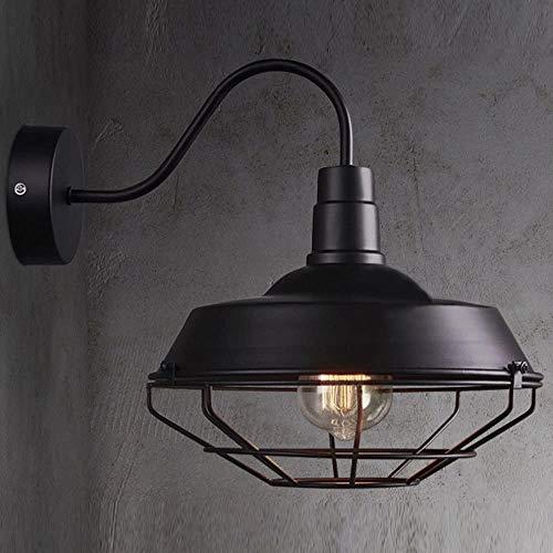 Wodtree Retro industrielle Windwandleuchte Metallwandleuchte mit Abdeckung und Grid Lager Wand einzelner Lampe (Color : Black)
