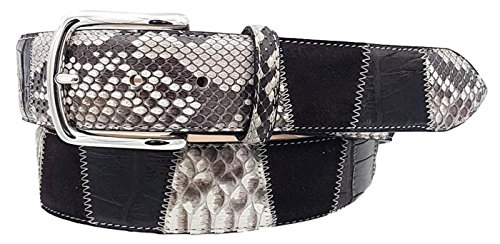 ESPERANTO Cintura 4 cm in Coccodrillo, Pitone e pelle bovina, Dark Coffee-Unisex (Tg 50- LUNG TOTALE 115 CM-GIROVITA 100 CM)
