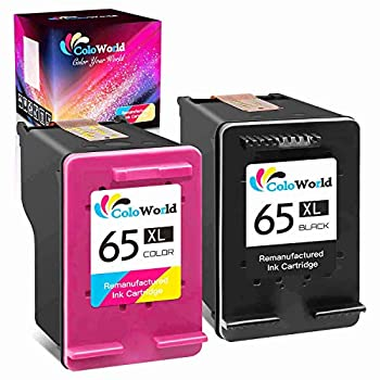ColoWorld Remanufactured Ink Cartridge Replacement for HP 65XL 65 XL Used for Envy 5052 5055 5012 5010 5020 5030 DeskJet 2600 2622 2652 3722 3755 3752 2640 2635 2636 AMP 100 Printer  1 Black 1 Color
