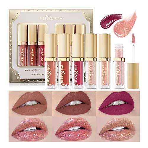 OLesley 6 piezas Set de pintalabios Kit de brillos de labios líquidos Terciopelo Mate Lip Glaze, lápiz labial duradero Glaseado de labios Impermeable Set de maquillaje de labios antiadherente (A)