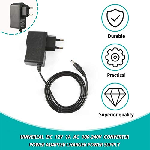 LIOOBO 1Pc Plastic Practical DC 12V 1A Power Supply Wall Charger Power Adapter for Camera Surveillance Router