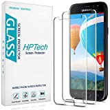 HPTech Galaxy J3 2017 / J3 Luna Pro / J3 Prime / J3 Mission / J3 Emerge / J3 Eclipse Glass Screen Protector - (2-Pack) Tempered Glass Easy to Install with Lifetime Replacement Warranty