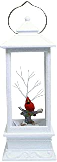 Winter Red Cardinal in Swirl Snow Dome Lantern with LED Lights, 10 3/4 Inch