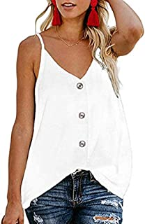 OSTRE Women's Button Down V Neck Strappy Tank Tops Loose Casual Sleeveless Shirts Blouses