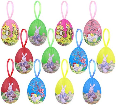 ADXCO 12 Pack Easter Hanging Eggs Ornaments New Vintage Style Colorful Painted Paper Egg Hanging product image