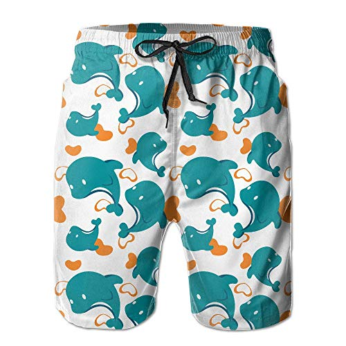 Mens Miami Dolphin Cartoon Cute Pattern Summer Quick-Drying Swim Trunks Beach Shorts Cargo Shorts Large
