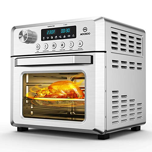 MOOSOO 18L Air Fryer Oven for Large Family, 8-in-1 Combo Convection Roaster with LED Display, 1500W & Large Glass Window Air Fryer Toaster Oven, Double Tube Uniform Heating, Super Durable Stainless Steel Body