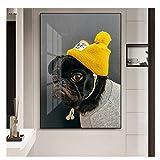 XuFan Perro Mascota Shar Pei en Ropa Arte de la Pared Pintura de la Lona Carteles Imágenes de la Pared para la Sala de Estar Decoración para niños-50x70cm Sin Marco
