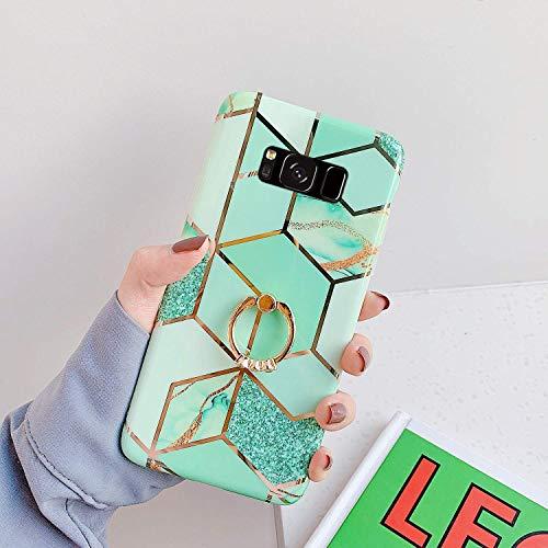 Saceebe Compatible avec Samsung Galaxy S8 Plus Coque Silicone Motif Géométrique Marbre Housse Etui avec Anneau Support Bague Glitter Paillette Brillant Strass Ultra Fine Fille Case,Vert