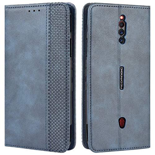 HualuBro Handyhülle für ZTE Nubia Red Magic 5G Hülle, Retro Leder Stoßfest Klapphülle Schutzhülle Handytasche LederHülle Flip Hülle Cover für ZTE Nubia Red Magic 5G Tasche, Blau