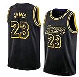 Genrics Camiseta Baloncesto Jersey -23 Camiseta de Baloncesto Los Angeles Lakers Camiseta - Negro Amarillo Violeta (TAMAÑO: S-XXL)