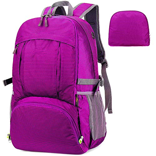 MRPLUM 30L-35L Rucksack Foldable Ultralight Packable Backpack, Unisex Durable Handy Daypack for Travel & Outdoor Sports Durable & Waterproof (Purple-5)
