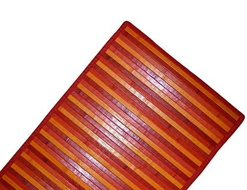 DEMONA Tappeto stuoia bamboo legno moderno pedana cucina degradè passatoia antiscivolo VARI COLORI E MISURE SPEDIZIONE GRATUITA (NMB-6 Rosso, 50X140CM)