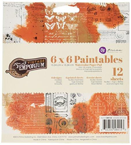 Prima Marketing 584153 Vintage Emporium Paintable Watercolor Paper Pad (12 Pack), 6' by 6', Multicolor
