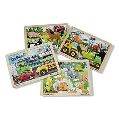 Melissa & Doug Wooden Jigsaw Puzzles Set: Vehicles, Pets, Construction, and Farm
