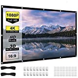 136 inch Projector Screen, 16:9 HD 4K Foldable No Crease Portable Video 135 Projection 130 Movie Screen Grommets for Outdoor Indoor Home Theater