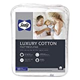 Sealy Luxury 100% Cotton Fitted Mattress Pad, King, White
